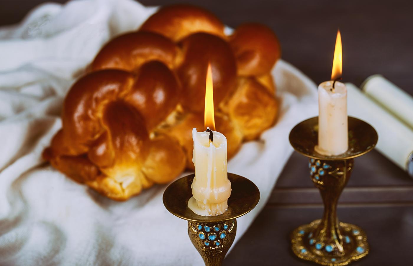 Traditional Jewish Homemade freshly baked challah for the Holy Sabbath ritual